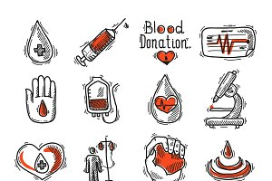 Donor sketch icon set