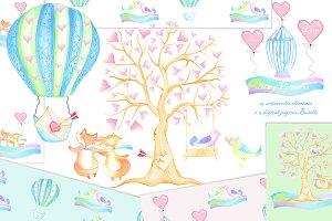 Valentines watercolor clip art paper