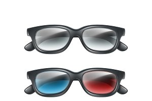 Set of plastic 3d glasses