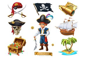 Pirates set. 3d cartoon vector icon