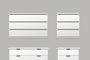 Set of different white drawers