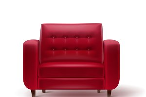 Red armchair for interior