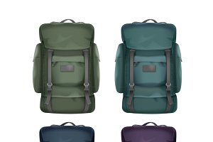 Set of big travel backpacks