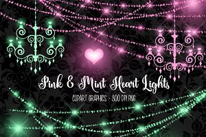 Pink and Mint Heart Lights Clipart