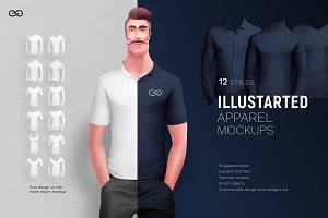 Illustrated apparel mockups