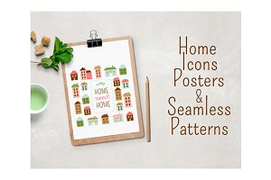 Home sweet home vector set