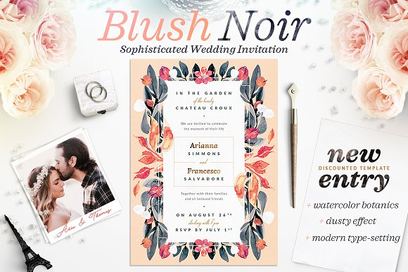 Blush Noir Wedding Invite III
