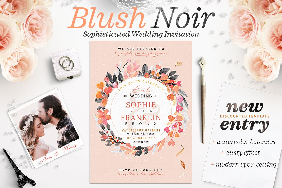 Blush Noir Wedding Invite V ~ Invitation Templates ~ Creative Market
