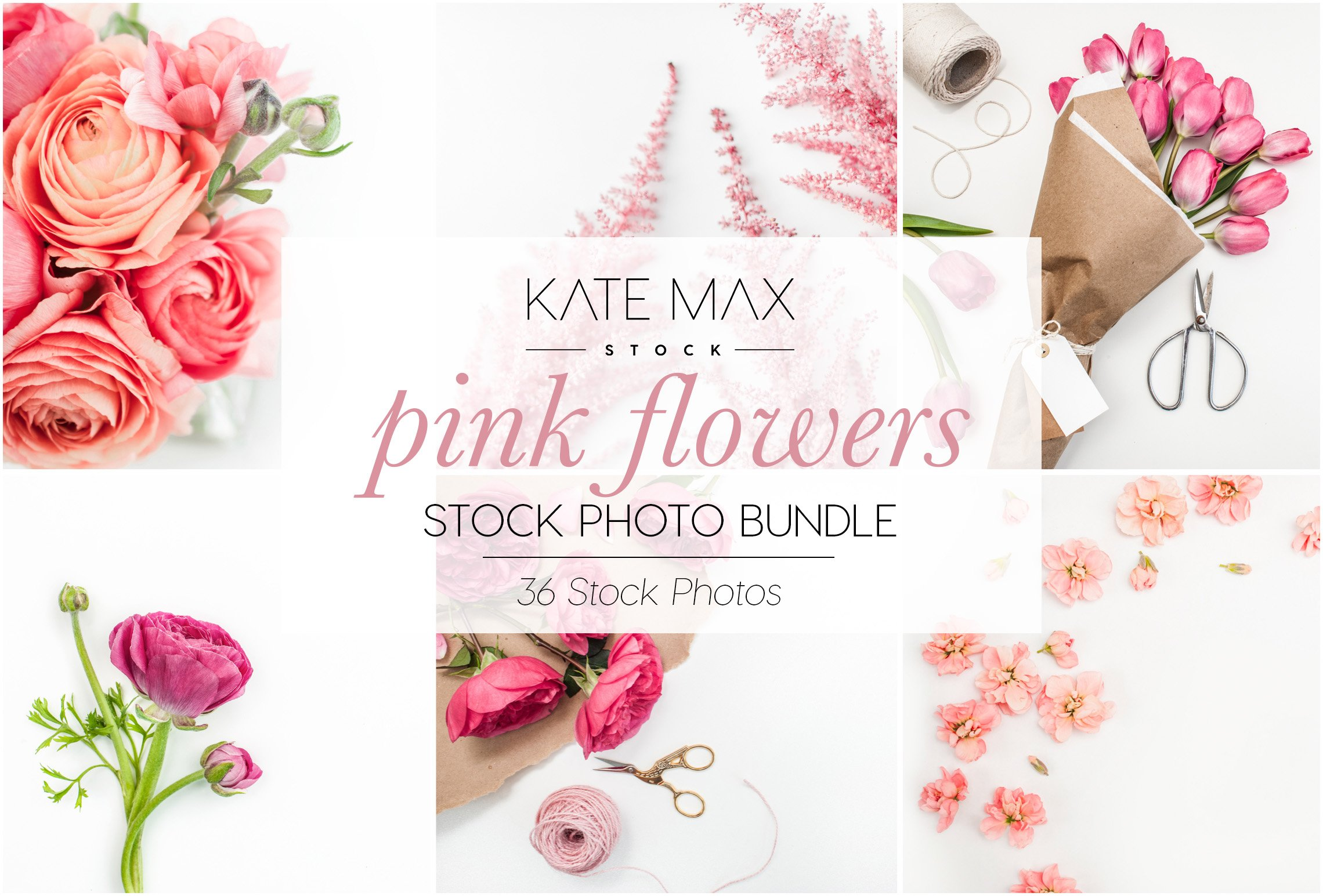 Pink Flowers Stock Photo Bundle Product Mockups Creative Market