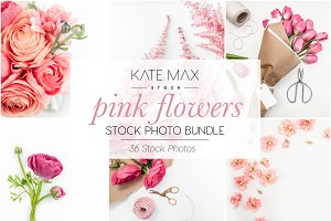 Pink Flowers Stock Photo Bundle