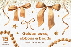 Golden Bows, Ribbons & Beads