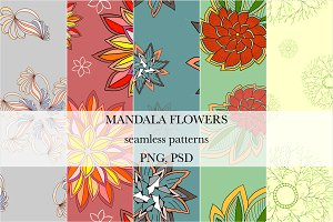 Mandala Flowers Seamless patterns
