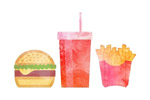 Watercolor Fast food on white