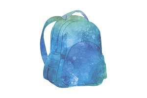 Watercolor Backpack on white