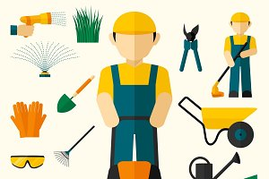 Man with garden equipment icons