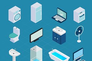 Isometric household appliances set