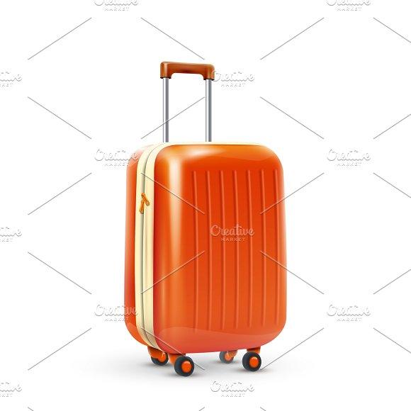 Orange travel plastic suitcase