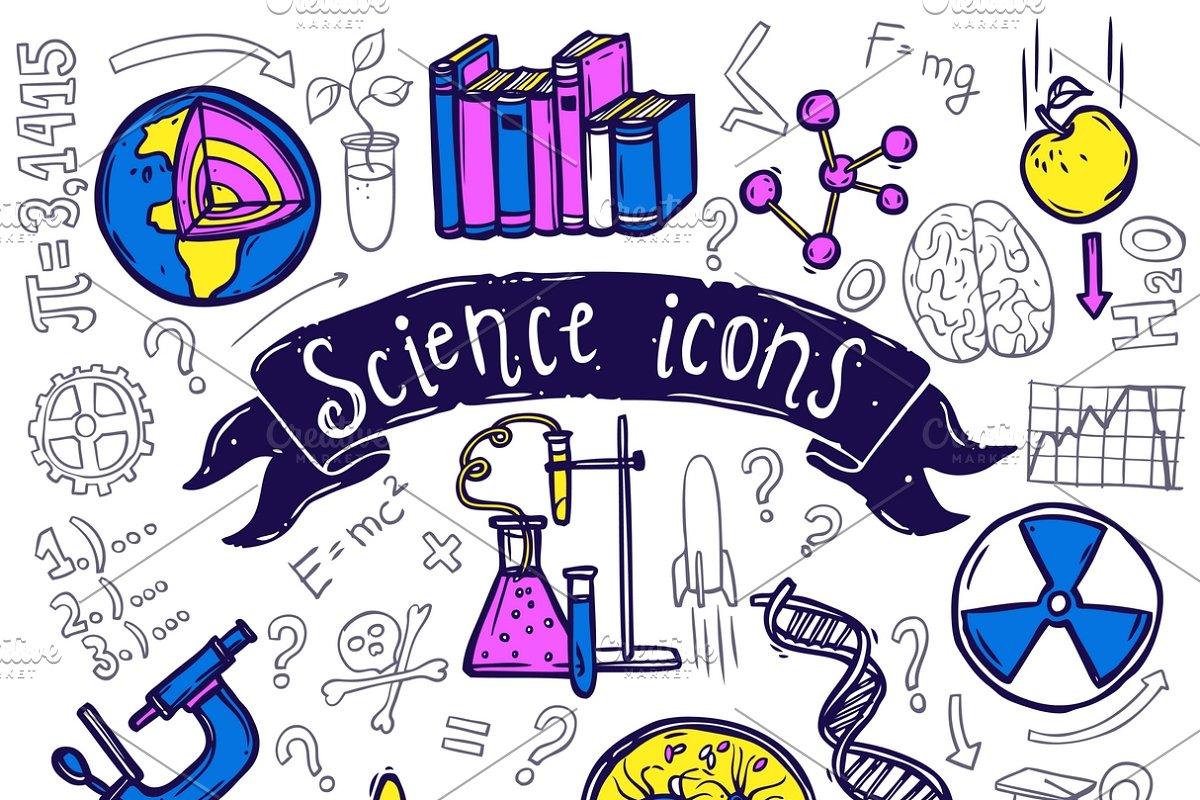 Science symbols doodle sketch