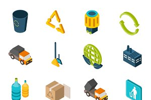 Garbage isometric icons set