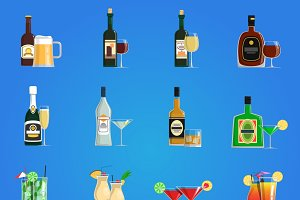 Cocktail icons flat set