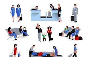 People in airport lounge icons set