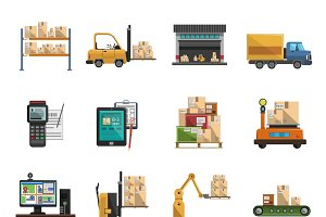 Warehouse icons flat set