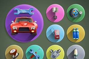Car repair cartoon icons set
