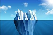 Polar landscape with iceberg