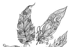 Bird feather doodle set
