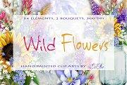 Wild Flowers Watercolor Clip Art