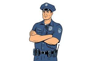 Policeman pop art vector illustration