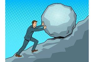 Businessman pushing rock uphill pop art vector