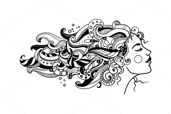 Girl with abstract hair coloring book vector