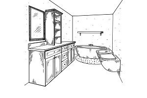 Bathroom engraving vector illustration