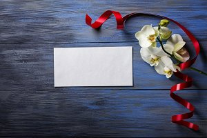 Purple Orchid and envelope