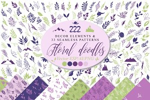 Floral doodle icons design elements