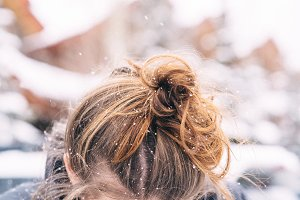 Snowflakes in Girls Hair