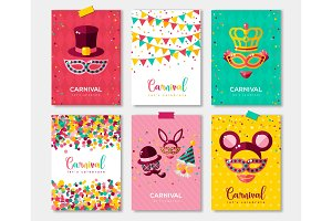 Carnival colorful posters set, flyer or invitation design