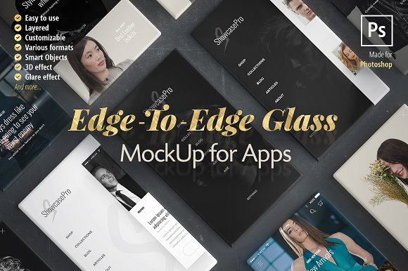 Download Edge-to-Edge Glass App Mockup