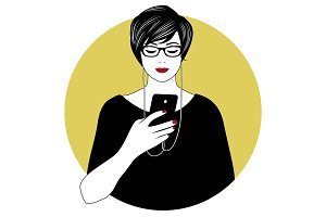 Woman with glasses using smartphone