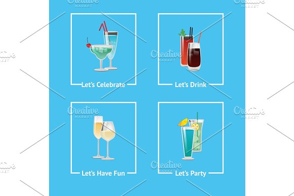 Let's Celebrate, Have Party & Fun and Drink Icons