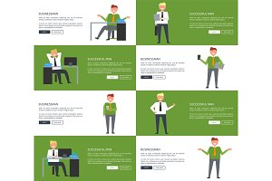 Successful Businessman Set of Illustrations
