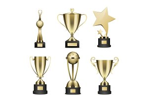 Golden Trophy Cups Realistic Vector Collection