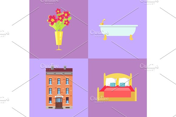Hotel Building and Interior Parts Illustrations