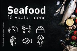 SEA FOOD - vector line icons