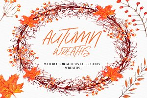 Watercolor Autumn Wreaths clipart
