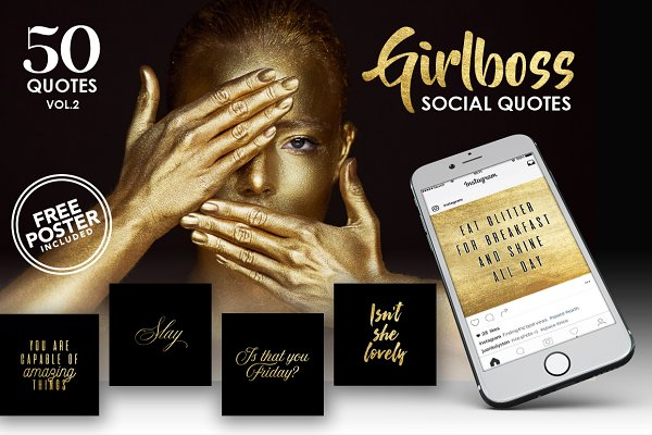 Gold Girlboss Social Quotes Vol. 2