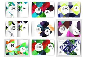 A4 brochure templates, geometric design, set of backgrounds