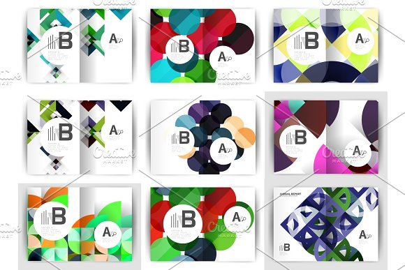 A4 Brochure Templates Geometric Design Set Of Backgrounds