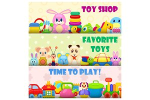 Time to Play with Favourite Toys Colorful Poster